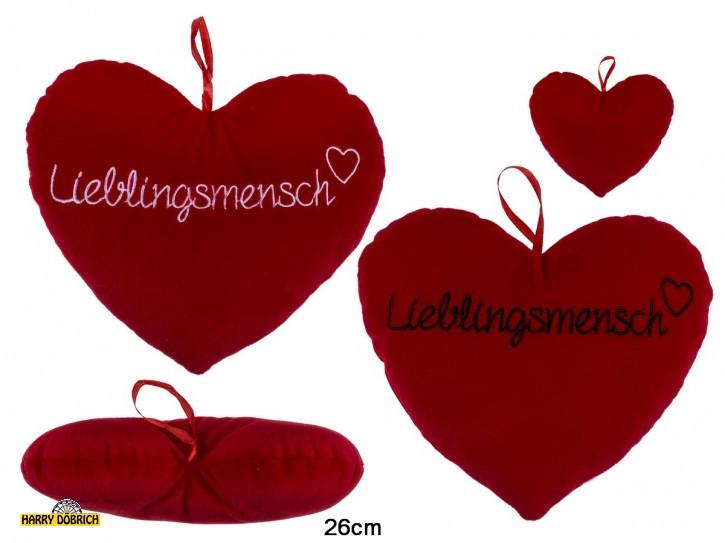 Herz rot 26cm Lieblingsmensch sortiert