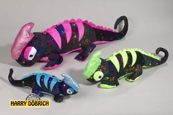 Gecko Glitzerplüsch 36cm 3-fach sortiert