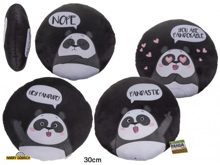 Kissen Panda rund 30cm 4-fach sortiert