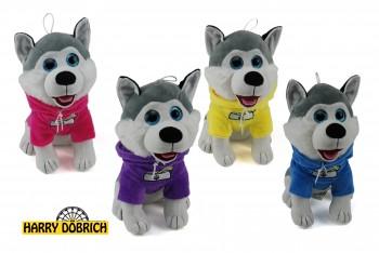 Husky mit Shirt 40cm 4-fach sortiert