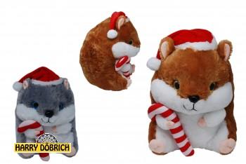 Hamster sitzend 25cm Weihnachtsmütze 2-fach sortiert