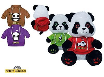 Panda mit Shirt 30cm 4-fach sortiert