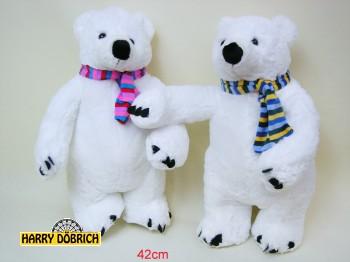Eisbär stehend 42cm mit Schal 2-fach sortiert