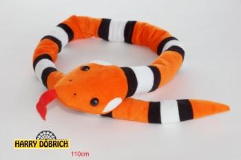 Schlange orange/schwarz/weiss 110cm