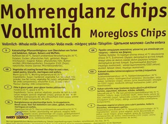 Fettglasur Mohrenglanz Vollmilch Preis pro kg