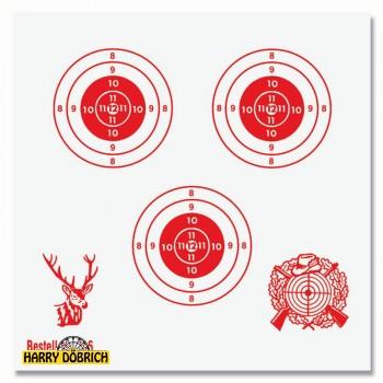 Schießscheibe 3 Ringe 11cm  rot