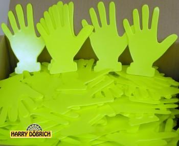 Abschieß-Hände neongelb 500 Stück
