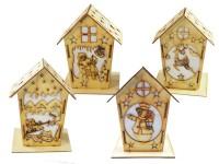 Holzhaus mit Led Kerze 4-fach soriert