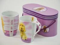 Kaffeebecher 2er Set Hundewelpe in Box