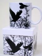 Kaffeebecher Vögel weiss/schwarz in Box