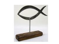 Metall-Fisch auf Holzfuss 23 x 18cm