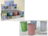 Glas-Teelichthalter pastell