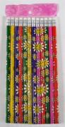 Bleistift mit Radiergummi sortiert