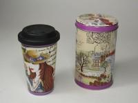 Porz. Kaffeebecher 2go Lady in Blechdose