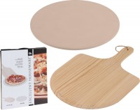 Pizzasteinplatte mit Halter 33cm