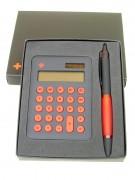 Rechner mit Kugelschreiber in Geschenkbox