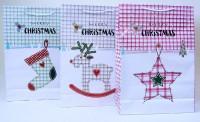 Geschenktasche Weihnachten weiß 35x25cm
