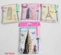Notizbuch Städte mit Kuli 14x10cm sortiert