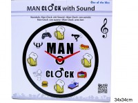 Wanduhr Männer mit Sound 34cm