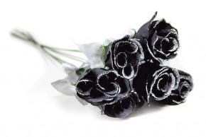 Rosenknospe 45cm schwarz glitzer