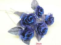 Rose offen 34cm blau mit Glitzer