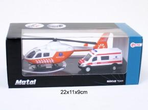Rettungsset mit Hubschrauber