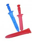 Dolch 28cm mit Scheide blau/rot