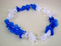 Blumenkette Hawaii blau/weiss