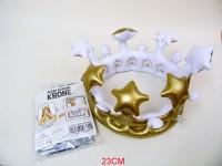 Aufblas-Krone ca. 23cm silber/gold sortiert