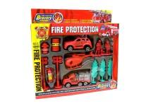 Spielset Feuerwehr mit Fahrzeugen sortiert