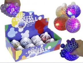 Quetschball 8cm Glitter mit Licht sortiert