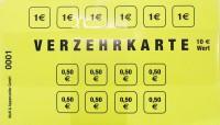 Verzehrkarte 10.-€ gelb 50 Stück Block
