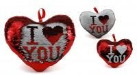 Herz Pailletten 30cm rot/weiß ILY