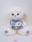 Bär mit Herz silber 34cm sitzend