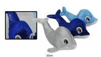 Delfin 26cm glitzer 3-fach sortiert