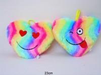 Herzkissen 23cm Regenbogen mit Gesicht