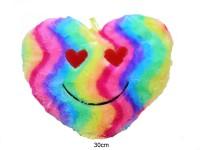 Herzkissen 30cm Regenbogen mit Gesicht