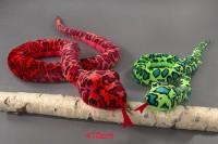 Schlange Glitzerauge 410cm rot/grün sortiert