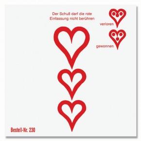 Schießscheibe 3 Herzen 11cm mit Trefferherzen